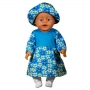 Платье с шляпкой   для куклы-девочки кулир цв. МИКС