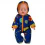 Комбинезон с капюшоном    для куклы-мальчика  флис  цв. МИКС